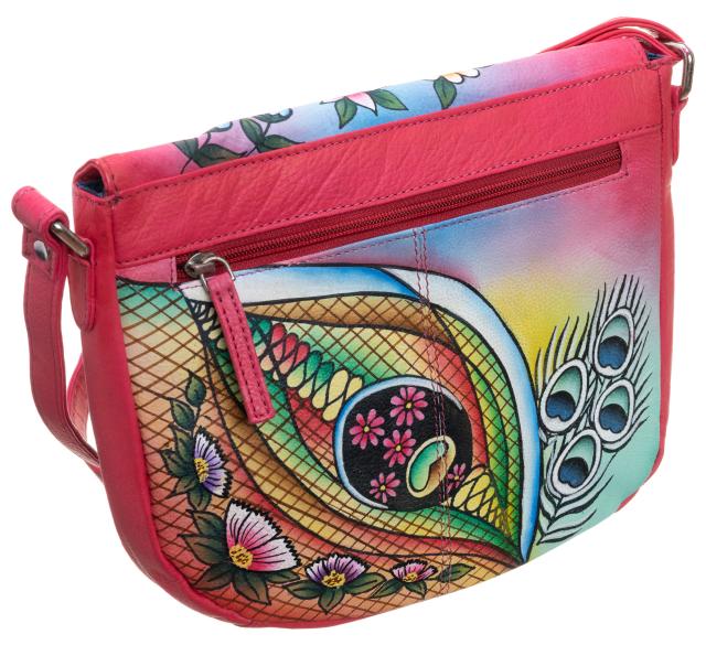 Piękna torebka folk ręcznie malowana skóra handmade