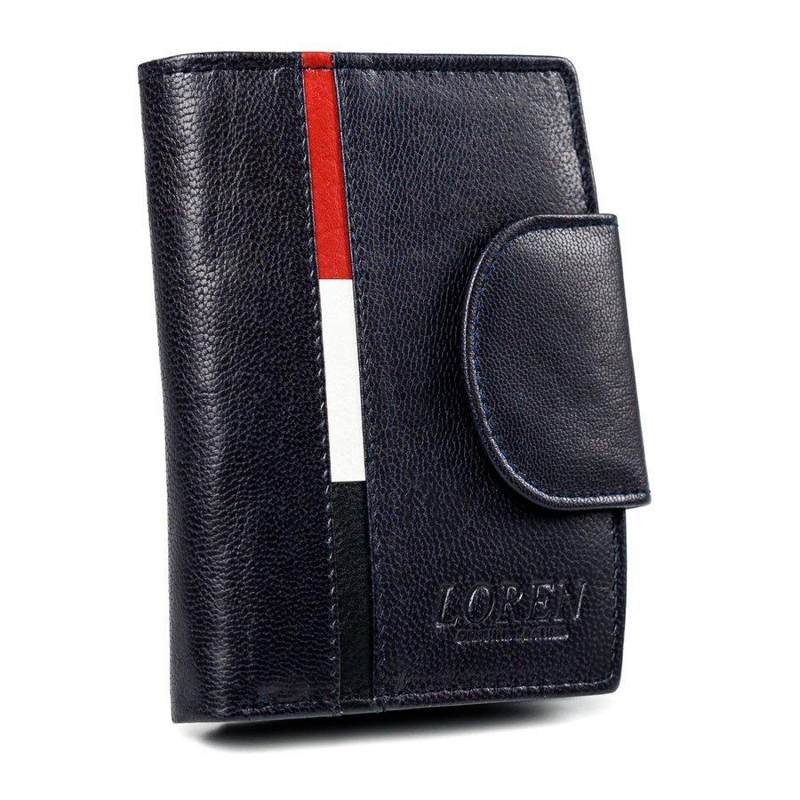 Przepiękny skórzany portfel damski, marki LOREN®, zapinany na zatrzask