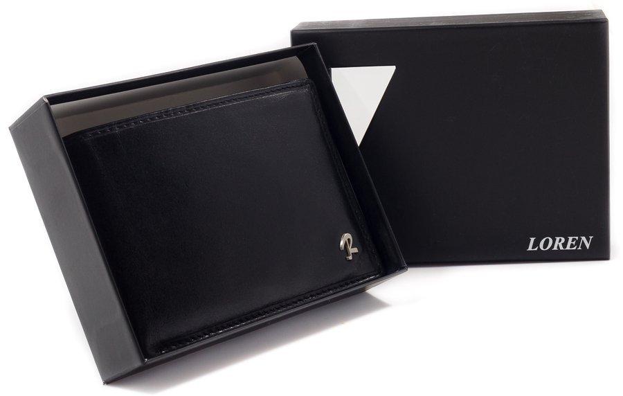 Klasyczny portfel męski ze skóry bydlęcej w zawsze modnym czarnym kolorze