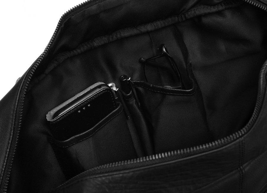 Elegancka torba laptopowa ze skóry naturalnej z kieszeniami