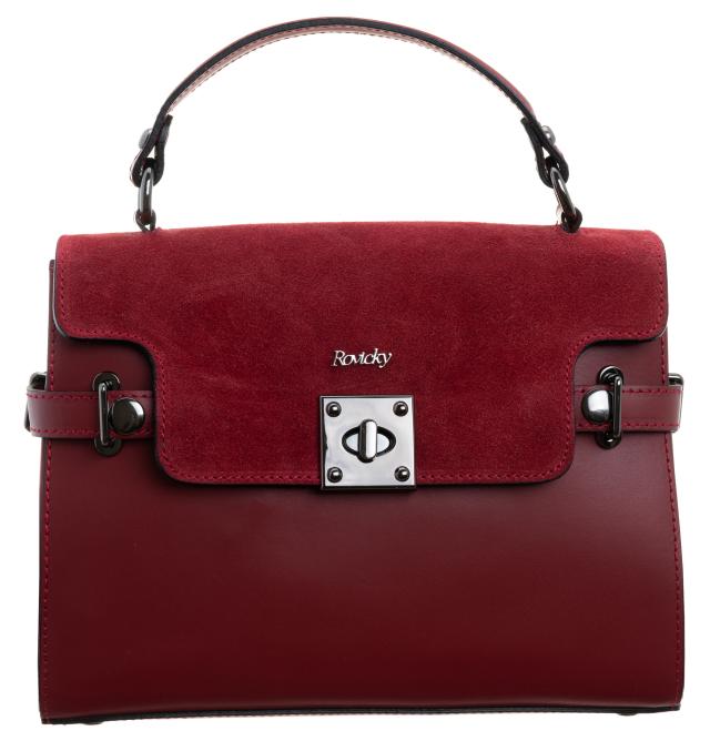 Rovicky klasyczna skórzana torebka kuferek pasek